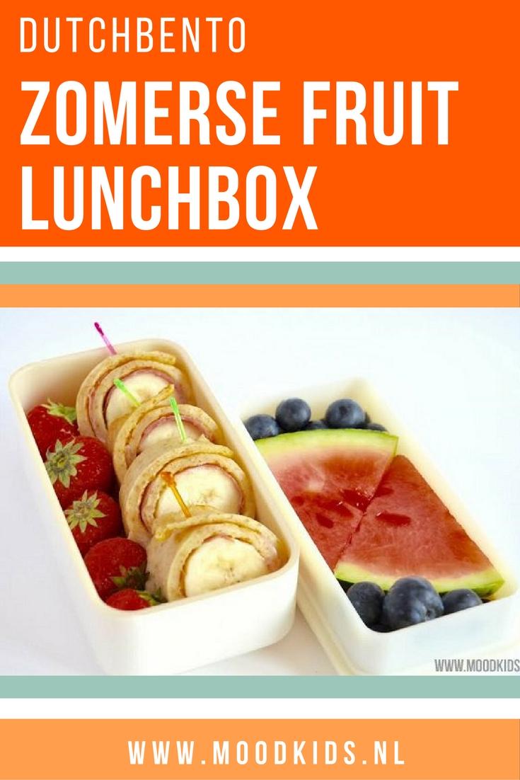 Ideëen voor een gezonde lunch voor je kinderen om mee te geven naar school. Maak deze lunchbox met fris zomers fruit. #DutchBento