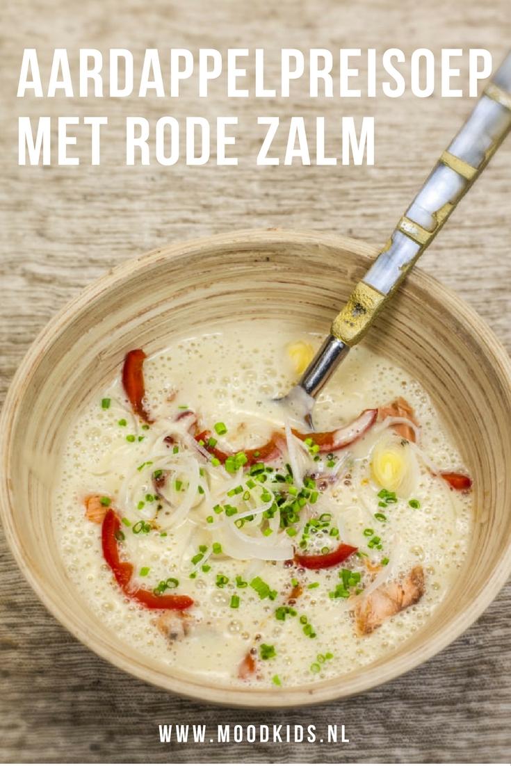recept voor heerlijke aardappelpreisoep met duurzame rode zalm uit blik.