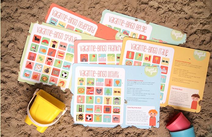 Vakantie-bingo van Papiergoed is een leuk product voor een zacht prijsje voor de hele vakantie. Zo leren je kids typerende dingen van je vakantieland kennen. Lees hier meer over dit product.