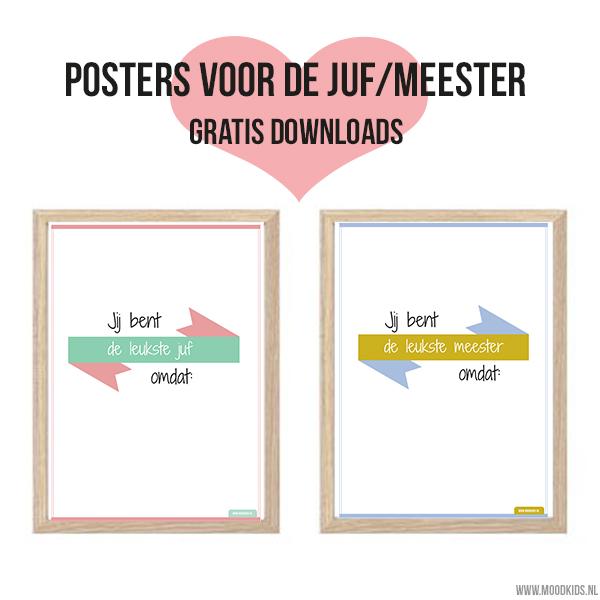 Met deze poster voor de juf of meester heb je een leuk, uniek en persoonlijk cadeau. Print de poster gratis uit. Laat je kind er wat persoonlijke dingen op schrijven en klaar!