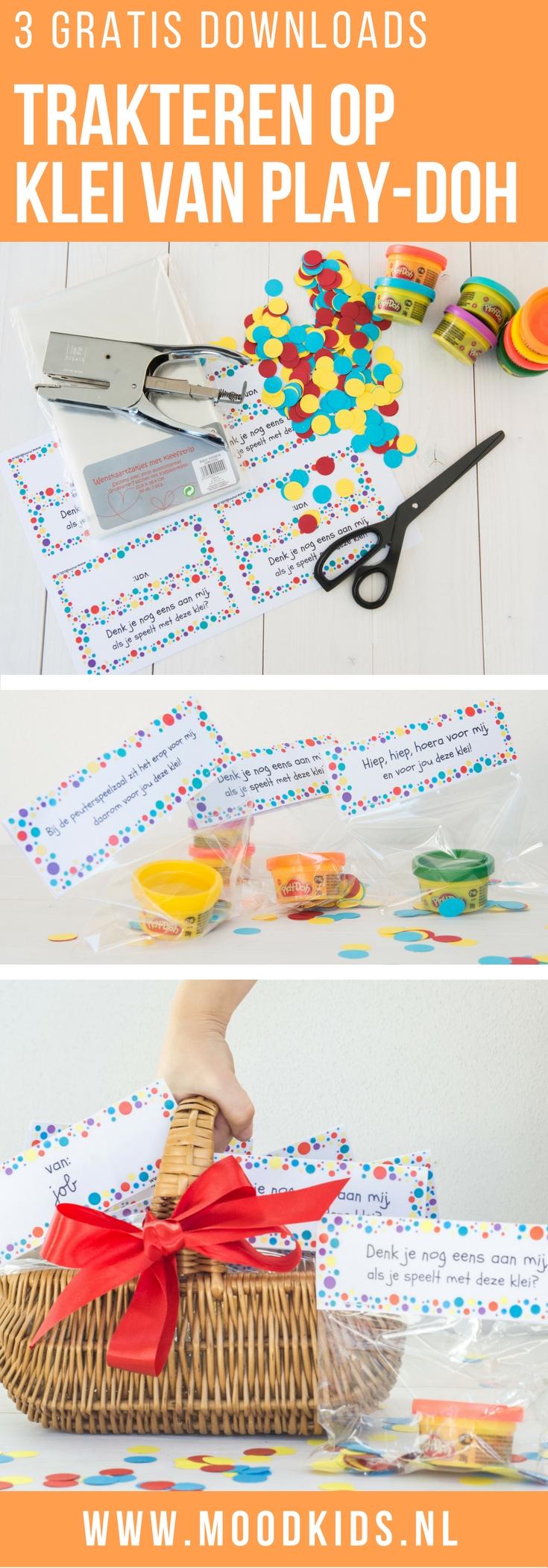 Wil je niet op eten of snoep trakteren? Of zoek je een traktatie voor een verhuizing of afscheid van de peuterspeelzaal Wij maakten een traktatie met klei van Play-Doh.