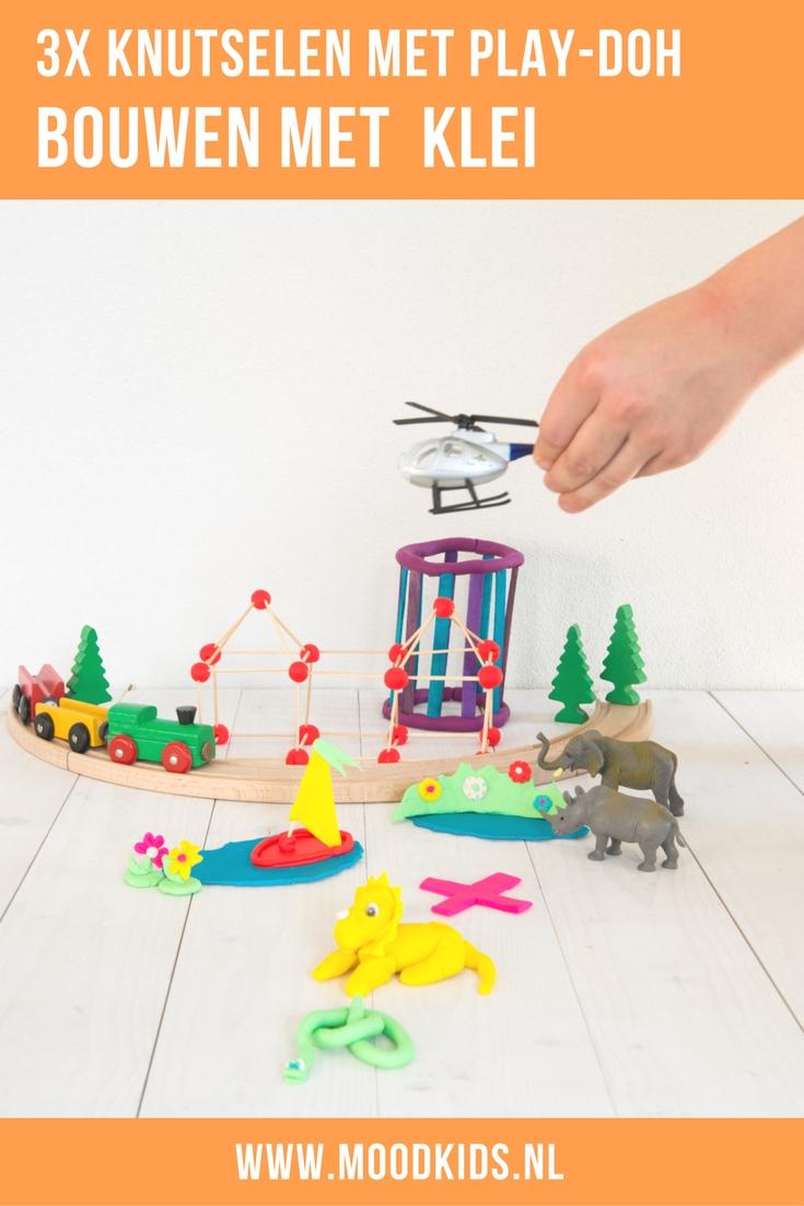 Drie leuke ideeën voor kinderen om te spelen met klei. Bouwen en zelf dieren maken van klei. Knutselen met klei.