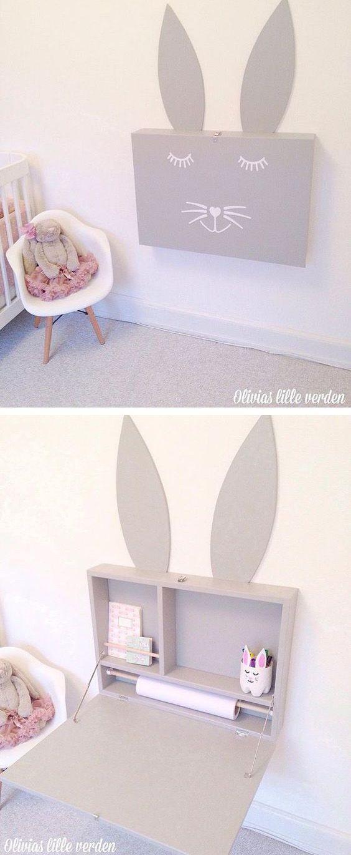 Inklapbaar bureau in de vorm van een konijn voor de kinderkamer van Mommo Design