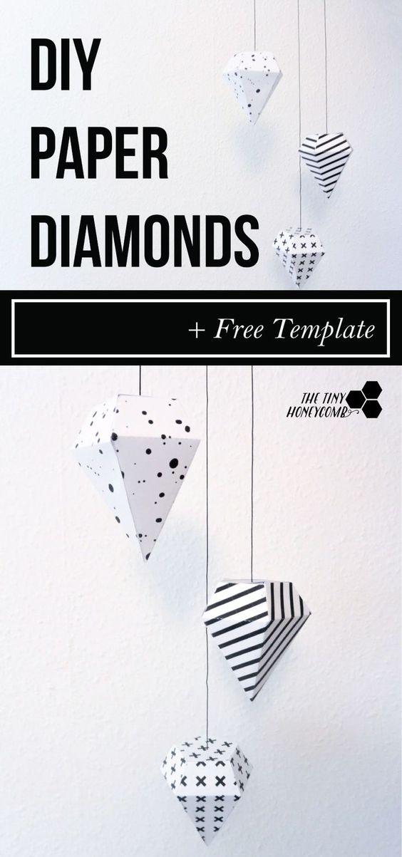 Diamanten zwart-wit hangers maken met gratis template van The Tiny Honeycomb