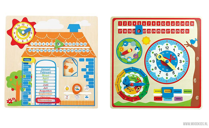 Een fijn educatief cadeau voor een kind zijn deze houten kalenders van Kids Decoshop. Dagelijks de dag, maand en seizoenen benoemen en je kind kent ze in no-time.
