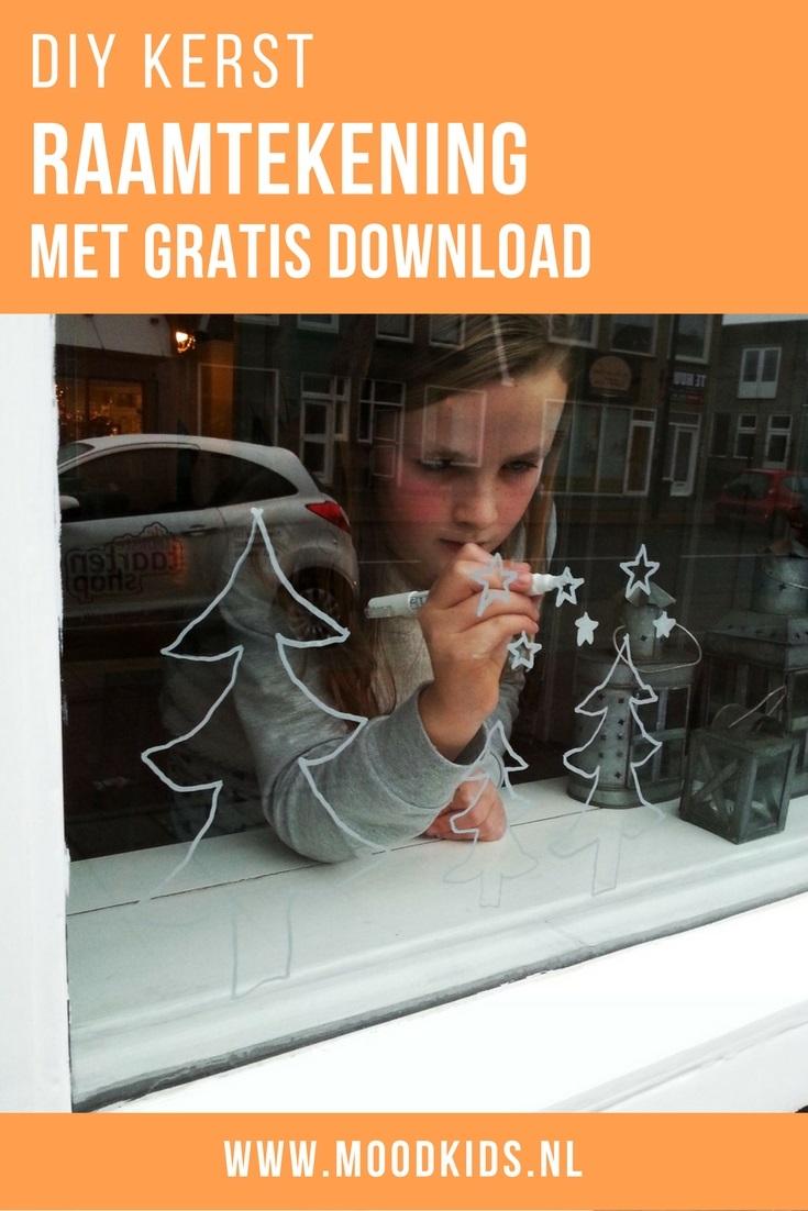 Maak met krijtstift een leuke raamtekening voor kerst. En met de gratis download van Liza enorm makkelijk om te maken. Leuk voor je kids om te doen! Download de printable van deze raamtekening gratis hier.