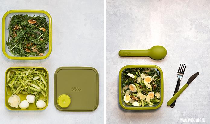 We hebben 3x een lekkere lunchtrommel salade bedacht voor op het werk of onderweg. Deze is met rucola, groene asperges, walnoten en kwarteleitjes. Je leest dit recept en de andere twee recepten hier.