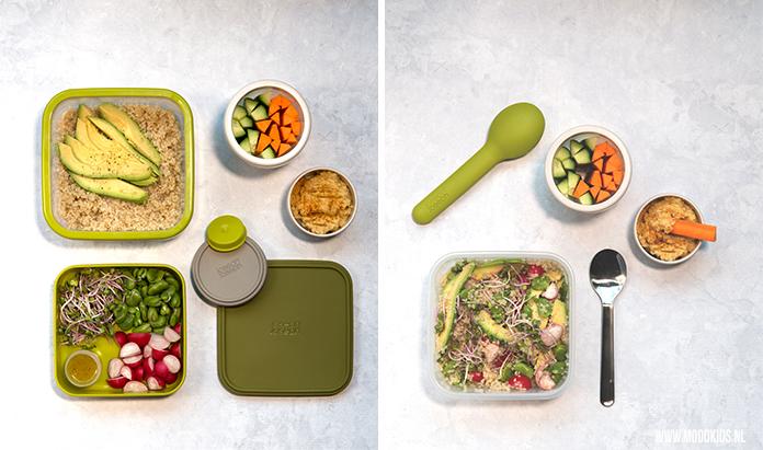 We hebben 3x een lekkere lunchtrommel salade bedacht voor op het werk of onderweg. Deze salade is met quinoa, avocado, kiemgroente, radijs en tuinbonen. Je leest dit recept en de andere twee recepten hier.