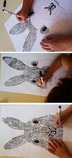 Paashaas maken met een leuke tekentechniek