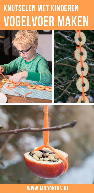 Maak samen met je kinderen vogelvoer van fruit. Fijn voor de vogels en leuk om te knutselen in de herfst en de winter. #knutselen #vogelvoer #fruit #kinderen #herfst #winter