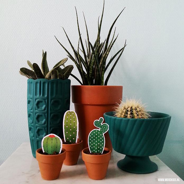 Cactussen zijn een must-have voor in huis. Geïnspireerd door deze trend maakte Liza een vrolijke cactus van papier. Met gratis printable van 3 cactussen. Je download ze hier..