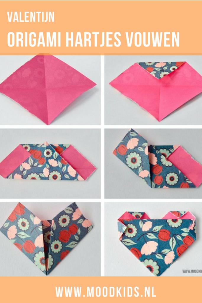 Zelf knutselen voor Valentijnsdag is extra leuk! Maak van origami hartjes van papier deze leuke Valentijnsslinger. Je leest hier hoe je hem maakt #valentijn #valentijnsdag #knutselen