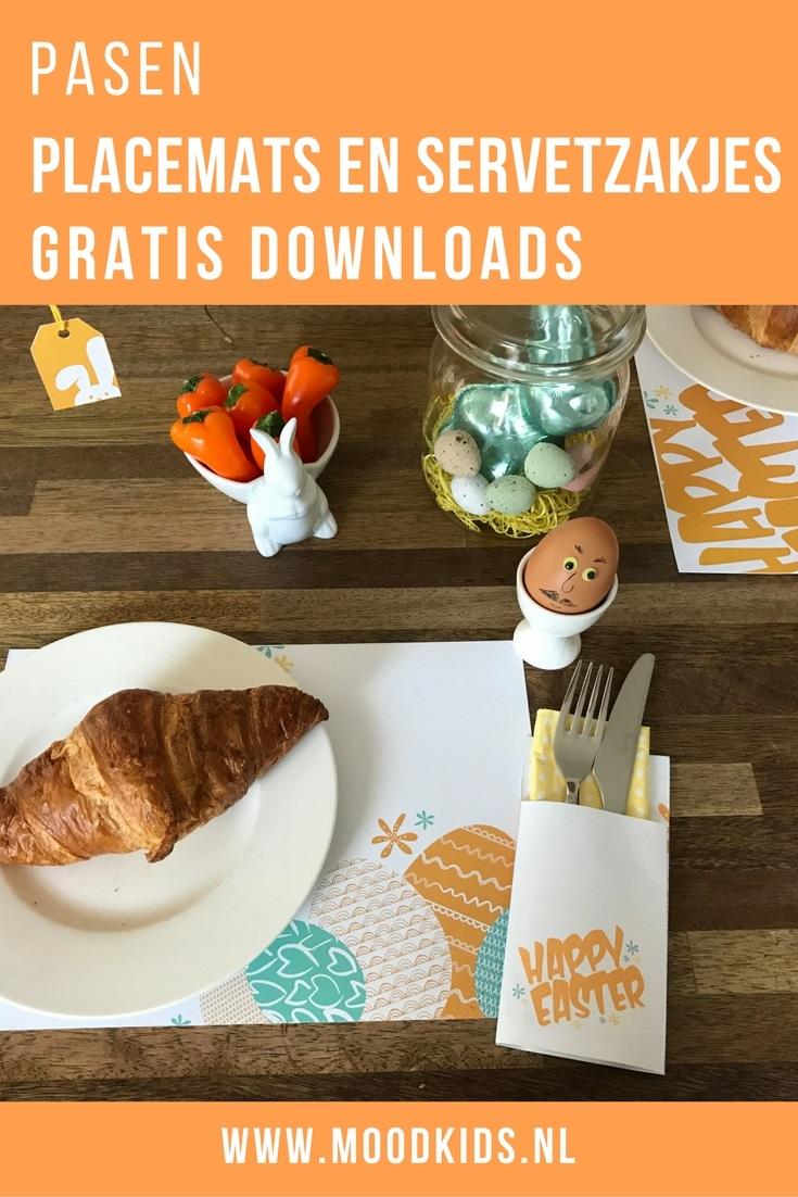 Heb jij met Pasen een paasontbijt of -brunch? Roelina maakte leuke placemats en bestekzakjes in twee varianten, die je hier gratis kunt downloaden.