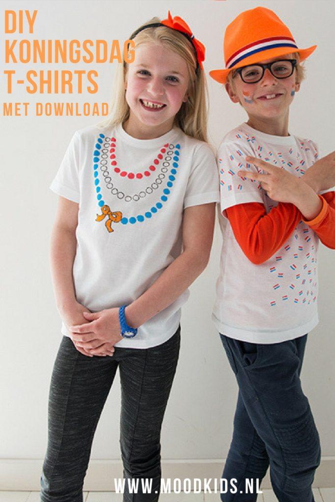 Voor Koningsdag maakten we twee verschillende t-shirts. De meisjes variant met gratis download mal. Hier lees je hoe je de t-shirts maakt.