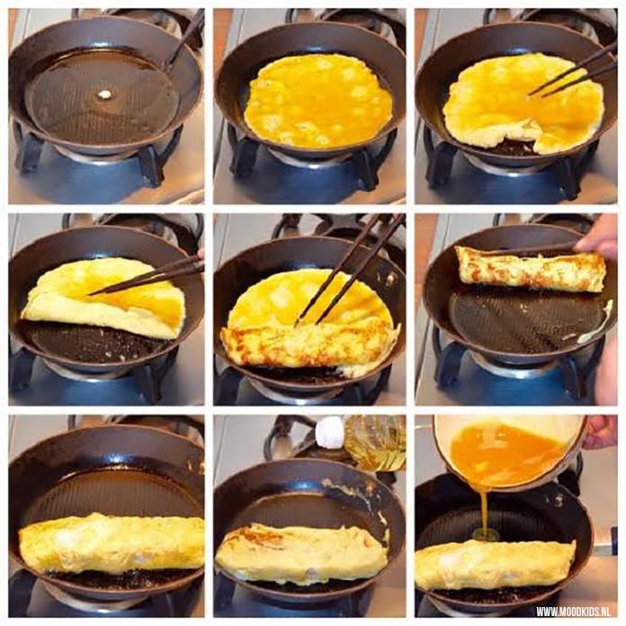 Zo maak je stap voor stap tamagoyaki. Lekker voor in de broodtrommel en in de sushi.