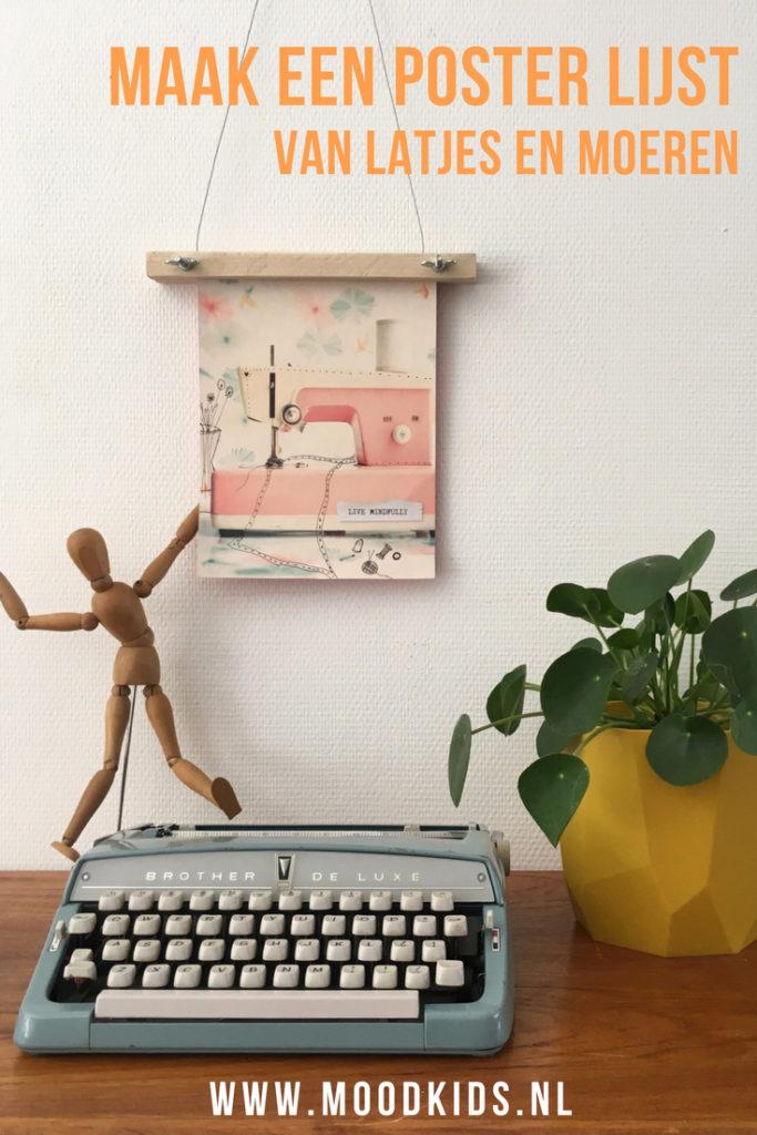 Suzanne bedacht een leuke poster lijst van houten latjes en vleugelmuren. Super simpel en in een handomdraai gemaakt met een leuk effect!