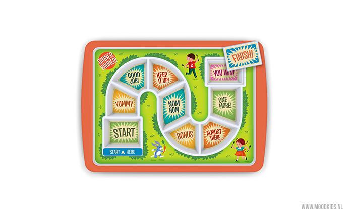 Spelen met eten mag met dit Eet & Win bord. Laat je kind bij start beginnen. Alle vakjes leeg en bij de finish? Dan wacht er een beloning op je bord!