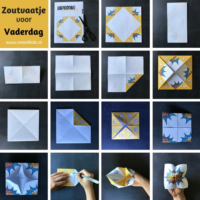Dit DIY cadeautje voor vaderdag is pure nostalgie! Maak een vaderdag zoutvaatje. Een wat? Je weet wel zo'n papieren origami ding met nummertjes. Je kunt hem hier gratis downloaden. Schrijf er lieve kleine cadeautjes op en klaar!