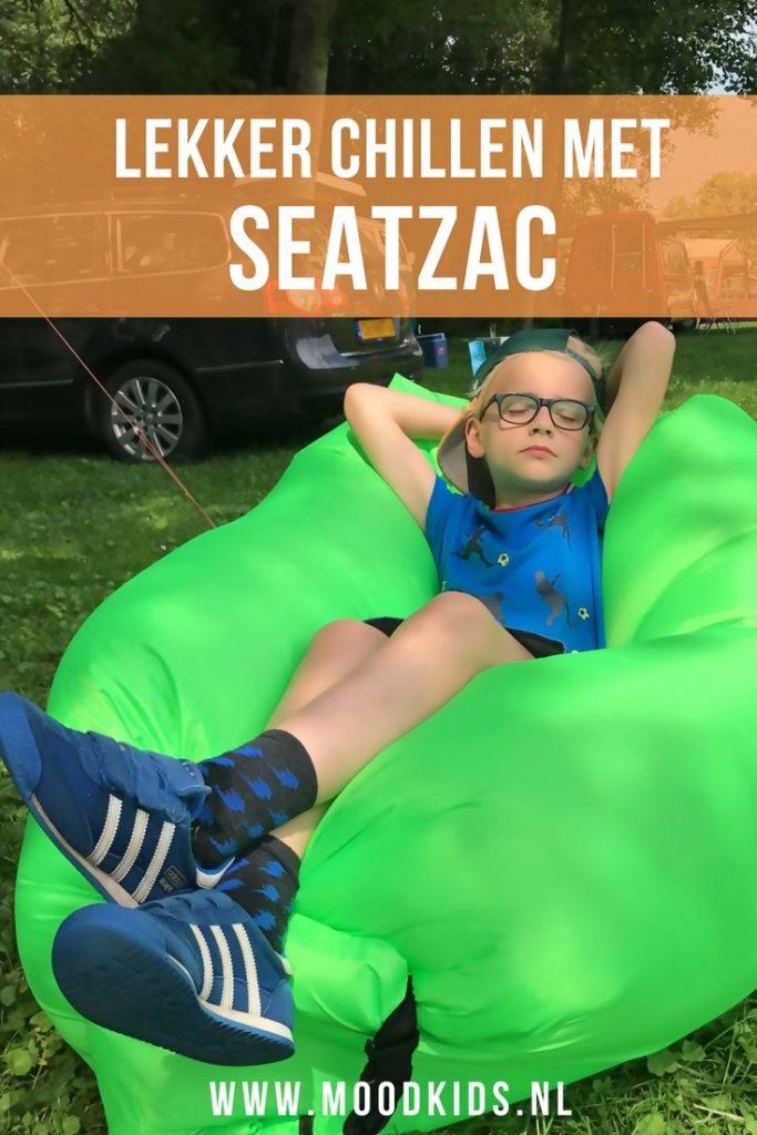 De SeatZac is een zogenaamde chillbag die je overal mee naartoe kunt nemen. Zo gemaakt dat je hem niet hoeft op te pompen.