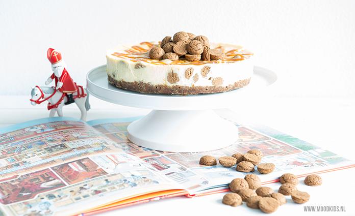 Cheesecake vind ik persoonlijk altijd een goed idee. Met de Sint in aantocht bedacht Brenda deze Sinterklaas cheesecake met pepernoten en gezouten caramel.