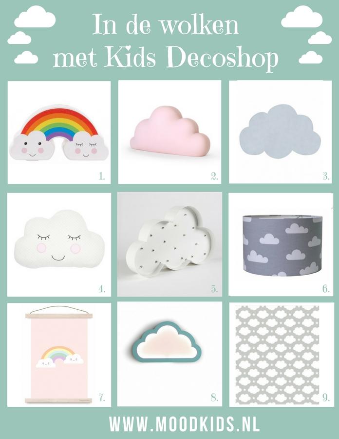 Een wolken thema in de baby- of kinderkamer is helemaal leuk en kan zowel voor jongens als meisjes. Webshop Kids Decoshop heeft een uitgebreid assortiment in het thema wolken. #wolken #kinderkamer #decoratie