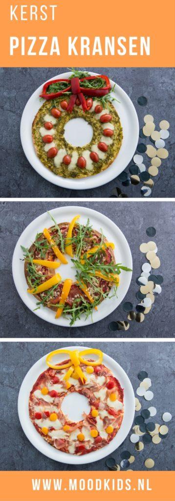 Lekker voor de kinderen met #kerst: #pizza kransen gemaakt van tortilla's. We hebben 3 varianten gemaakt.