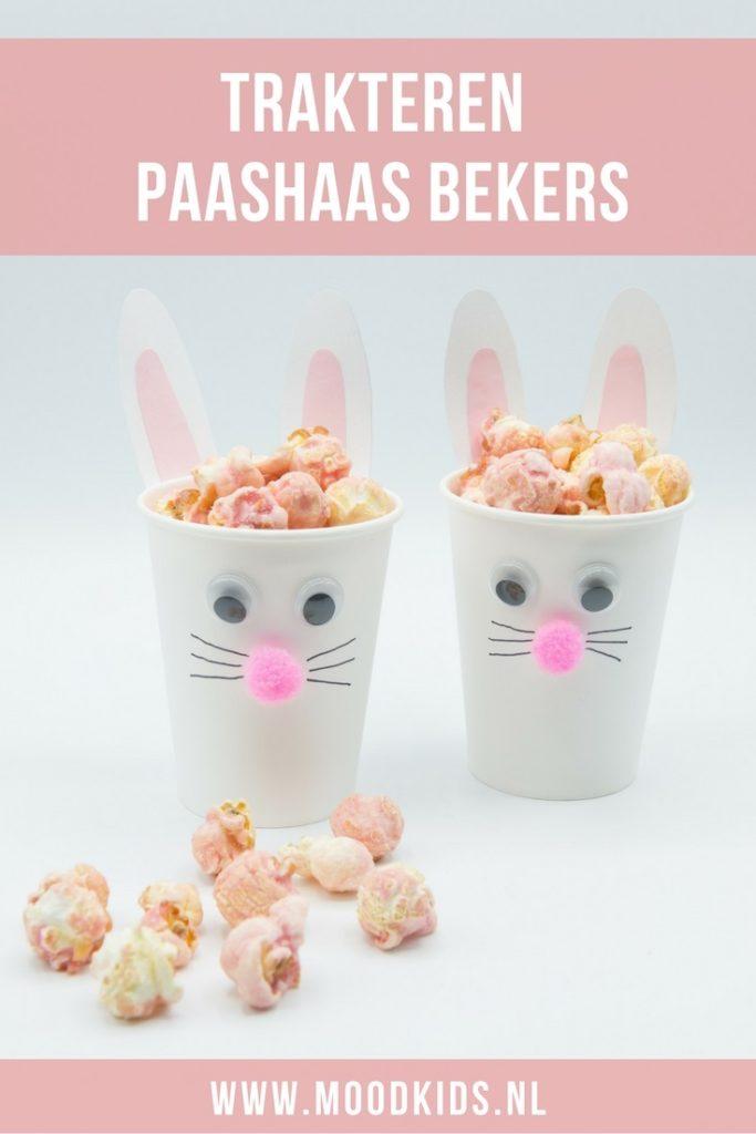 Traktatie idee paashaas beker met popcorn moodkids for Kartonnen bekers hema