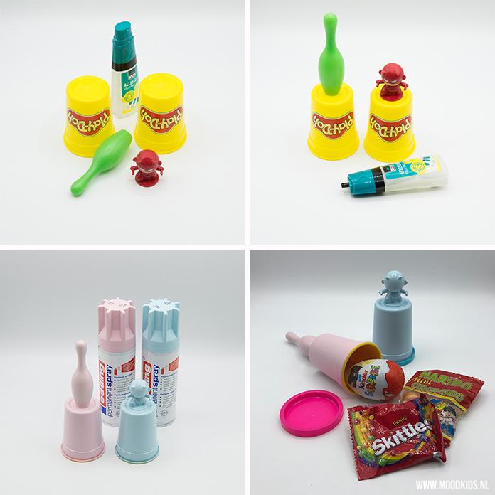 Heb jij ook vaak lege potjes Play-Doh? Gooi ze niet weg, maar bewaar ze (met deksel!). Heb je er voldoende dan kun je er deze leuke traktatie van maken. Leuk om uit te delen op school, maar ook tof om aan het eind van een kinderfeestje mee te geven.