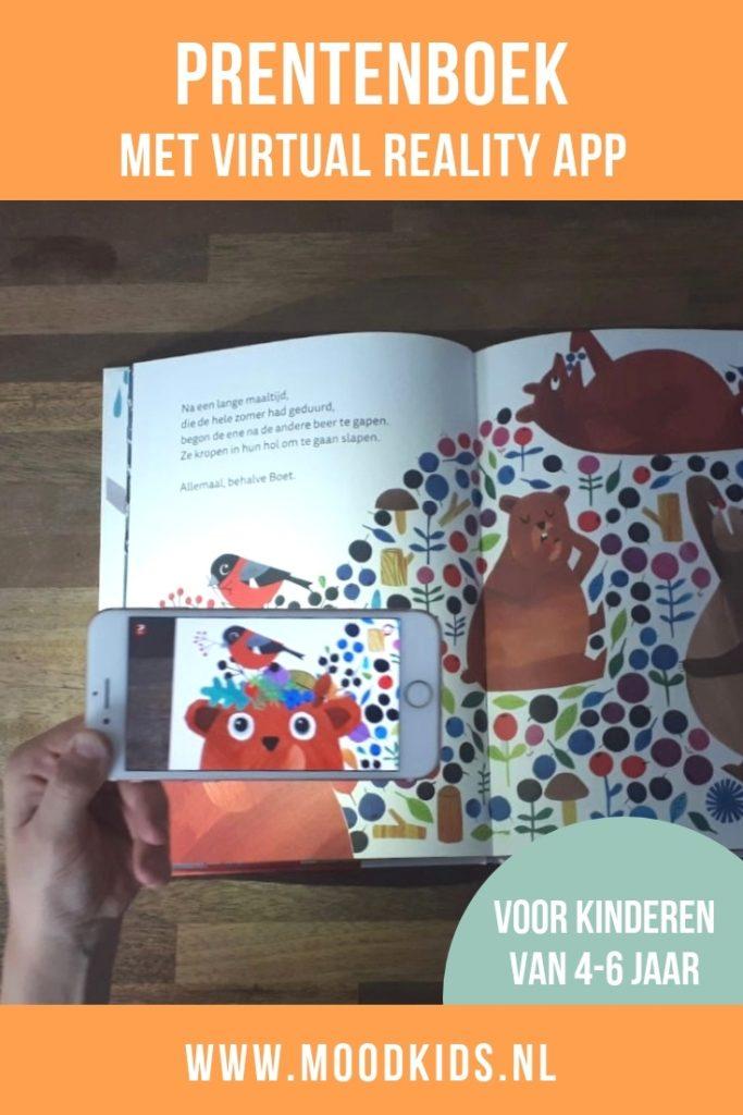 Het prentenboek Boet de Beer gaat over een beer die geen winterslaap wil houden. Fraai vormgegeven boek met als extraatje een virtual reality app.
