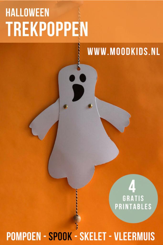 Voor jou: 4 Halloween trekpoppen! Met 4 gratis printables en stap voor stap uitleg. #halloween #trekpop #knutselen #spook #pompoen #vleermuis #skelet