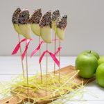 Appel lolly's met chocolade en discodip