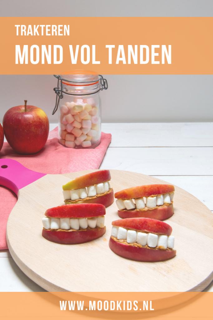 We hebben veel leuke traktaties en lekkere recepten met appel op MoodKids staan. Maar deze traktatie mond met tanden met appel en marshmallows ontbrak nog. #trakteren #traktatie