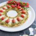 Hartige pizza kerstkrans van tortilla's voor kerst